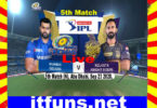 IPL 5th Match KKR VS MI 2020 Live Score Update 23 Sep 2020